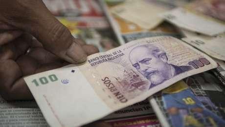 Adoção de moeda única foi tema de conversa; acima, nota de peso argentino