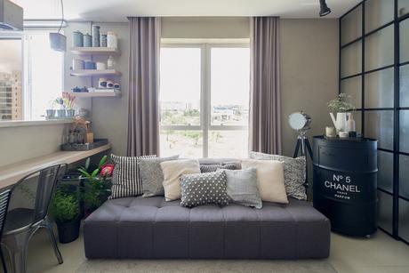 34. O cinza também pode ser usado em ambientes pequenos! – Foto: Minha Casa