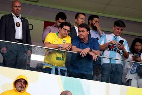 Amistoso entre Brasil x Catar visando a preparação para a Copa América 2019. Na quarta-feira 05/06, no Estádio Mané Garrincha. No detalhe, o presidente da República Jair Bolsonaro acompanhando o amistoso.