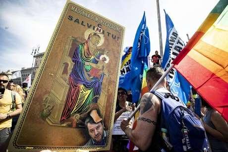 Parada do orgulho LGBT em Roma, capital da Itália