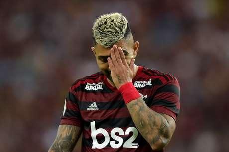 Gabriel, do Flamengo, durante partida contra o Fluminense, válida pela oitava rodada do Campeonato Brasileiro 2019, realizado no Estádio Jornalista Mário Filho (Maracanã), na zona norte do Rio de Janeiro, neste domingo (09).
