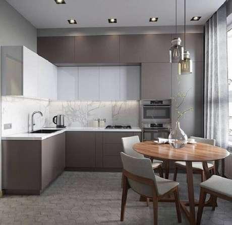 10. Cozinha em l com bancada na cor branca. Fonte: Pinterest