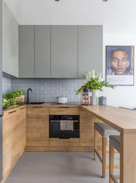 15. Cozinha em l com estilo rústico contemporâneo. Fonte: Pinterest