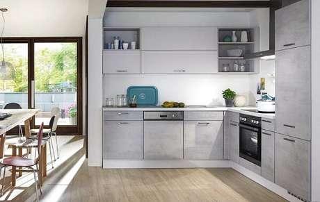 74. Modelo de cozinha planejada em l. Fonte: Panorama Móveis
