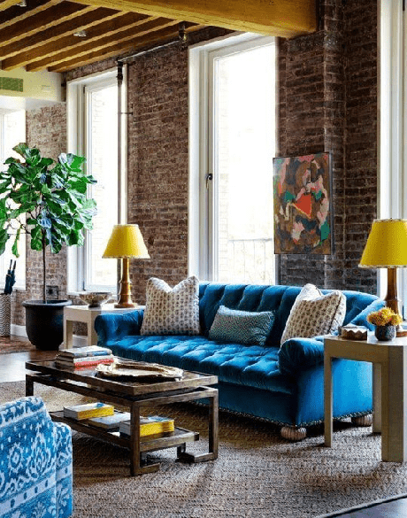 12. Os tons de azul ficam lindos com no sofá retrô 3 lugares – Foto: Architectural Design