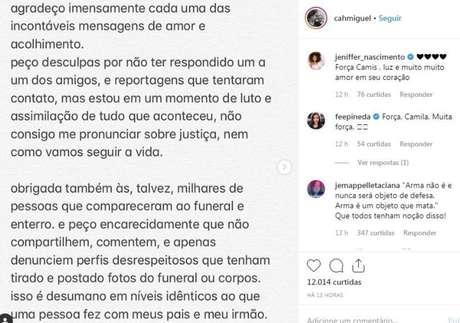 Homenagem que Camilla Miguel fez ao irmão no Instagram. Ele, que era ator e participou da novela 'Chiquititas', foi assassinado com os pais em junho de 2019.