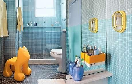49. Banheiro infantil mesclado com as cores amarelo e azul. Fonte Casa e Jardim
