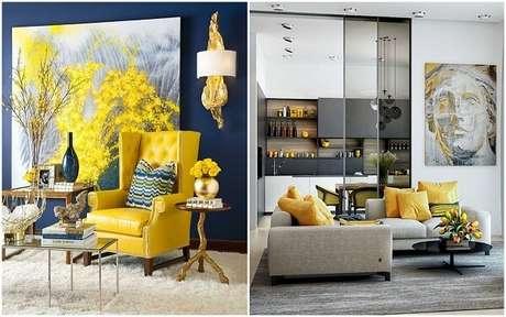 50. Combinação vibrante entre os tons de azul e amarelo. Fonte: Decoração de Interiores