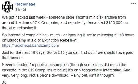 Fonte: Facebook/Radiohead