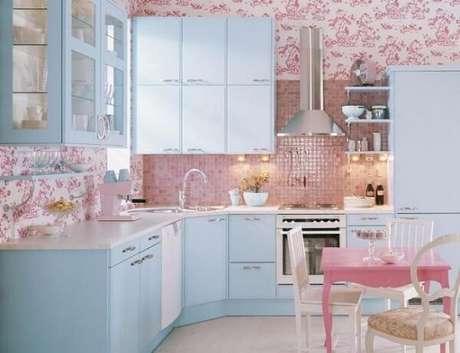 61. Mistura romântica entre azule rosa para o ambiente da cozinha. Fonte: Casa e Festa