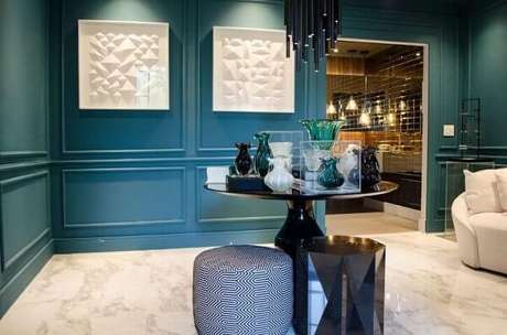24. Paredes azul Tiffany em sala de estar. Projeto de Casa Cor SP 2017