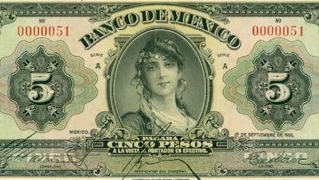 Primeiro bilhete de 5 pesos emitido pelo recém-criado Banco do México em 1925 estampava uma mulher 'misteriosa'