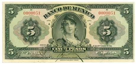 A nota de 5 pesos que circulou por 45 anos no México foi chamada de 'cédula da cigana'