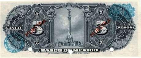 Verso da primeira nota de 5 pesos mostra monumento da independência mexicana