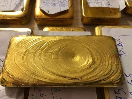 Barras de ouro avaliadas em R$ 1,3 milhão apreendidas pela Polícia Federal no aeroporto de Boa Vista, em 2018