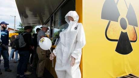 Lembrancinhas de Chernobyl estão à venda no tour