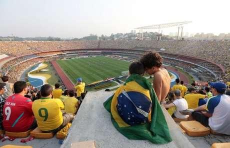 Morumbi lotado no último jogo da Seleção Brasileira no estádio, em 2014 (Foto: Rubens Chiri/saopaulofc.net)