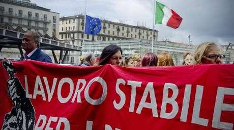 Manifestação contra desemprego na Itália, em foto de arquivo