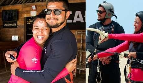 Bruno e Yanna experimentaram a emoção do kitesurfe, esporte aquático popular no litoral do Ceará