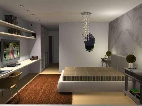 23. Lustres para quarto de casal com detalhes em cristais