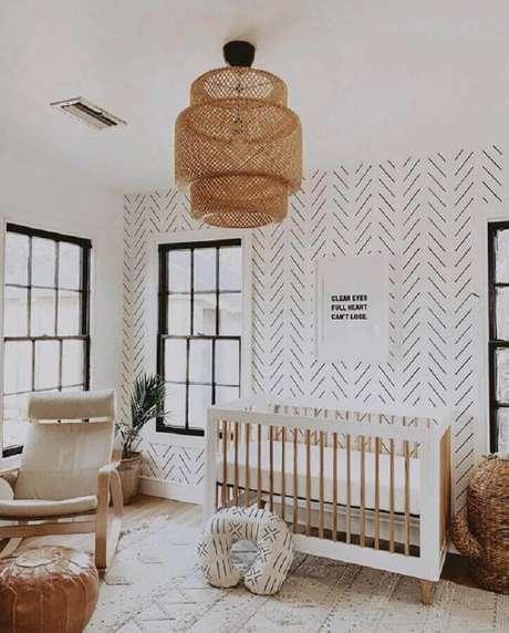 67. Lustres para quarto de bebê com acabamento rústico – Foto: Pinterest