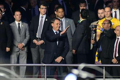 O Presidente da República, Jair Bolsonaro (PSL), é visto antes da partida entre as seleções de Brasil e Bolívia, válida pela 1ª rodada do grupo A da Copa América 2019, no Estádio Cícero Pompeu de Toledo (Morumbi), na zona sul de São Paulo, na noite desta sexta-feira, 14.