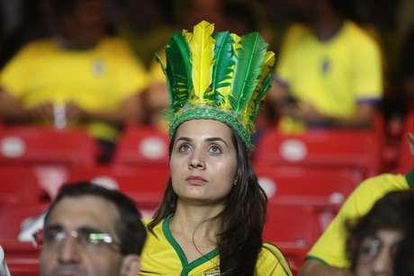 Torcida na arquibancada antes da partida entre as seleções de Brasil e Bolívia, válida pela 1ª rodada do grupo A da Copa América 2019, no Estádio Cícero Pompeu de Toledo (Morumbi), na zona sul de São Paulo, na noite desta sexta-feira, 14
