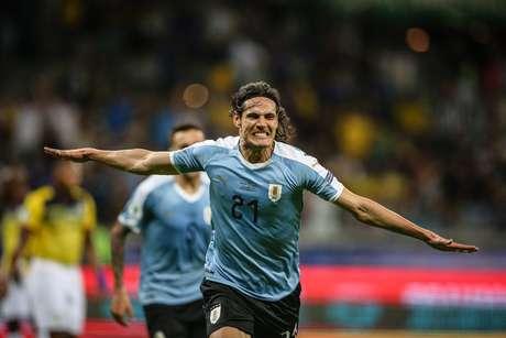 Comemoração do gol de Cavani (21), do Uruguai, marcado sobre o Equador durante partida válida pela 1ª rodada do Grupo C da Copa América disputada no Estádio do Mineirão, em Belo Horizonte (MG)