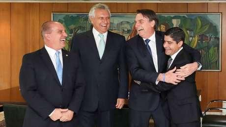 Da esq. para a dir.: Onyx Lorenzoni, Ronaldo Caiado, Jair Bolsonaro e ACM Neto. Raquel Dodge é próxima do governador de Goiás
