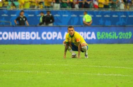 Daniel Alves, do Brasil, na partida contra a Venezuela, válida pela 2ª rodada do grupo A da Copa América 2019, realizada na Arena Fonte Nova, em Salvador (BA), nesta terça- feira (18).