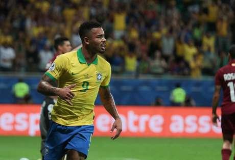Gabriel Jesus, durante partida entre Brasil x Venezuela, válida pela fase de grupos da Copa América 2019, realizada nesta terça-feira (18) na Arena Fonte Nova em Salvador, Bahia, Brasil.