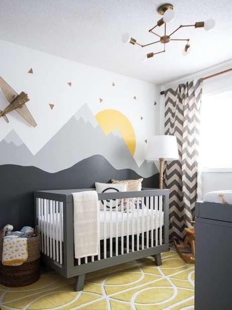 51. Tecido para cortina de quarto de bebê moderno – Por: Viva Decora