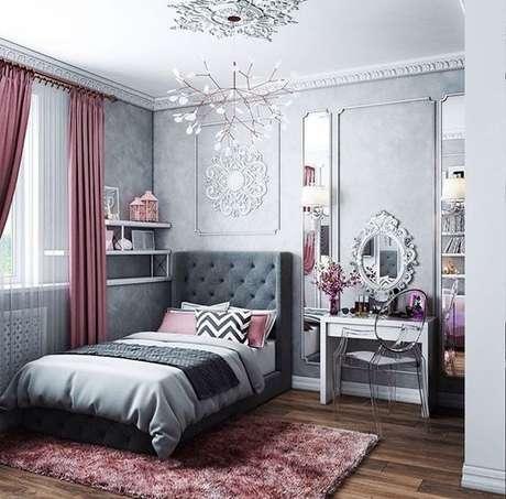 41. Escolha a cor do tecido para cortina de acordo com a paleta de cores do quarto – Por: Viva Decora