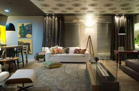 17. Tecido para cortina decoração sala de estar outros ambientes – Por: Mariela Felippetti