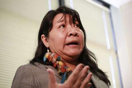 Joenia Wapichana, deputada federal, primeira indígena eleita deputada (Roraima Rede) durante o evento Perspectivas dos Direitos Constitucionais Indígenas