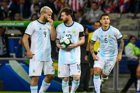 Conversa de Messi e Aguero ,partida válida pelo 2º rodada do grupo B da Copa da América 2019,no estádio do Mineirão, em Belo Horizonte 19/06/2019.