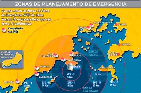 Mapa mostra diferentes raios de ação para o planejamento de emergência da Central Nuclear de Angra