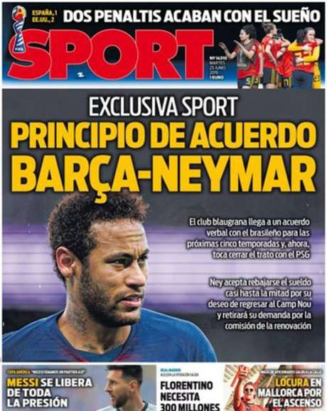 Capa do jornal Sport anuncia acordo entre Neymar e o Barcelona. Falta acordo com o PSG