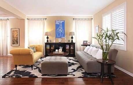 12. Bambu da sorte decora o ambiente da sala de estar. Fonte: Pinterest