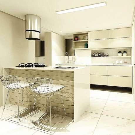 61. Decoração moderna para cozinha compacta branca e exaustor redondo de inox