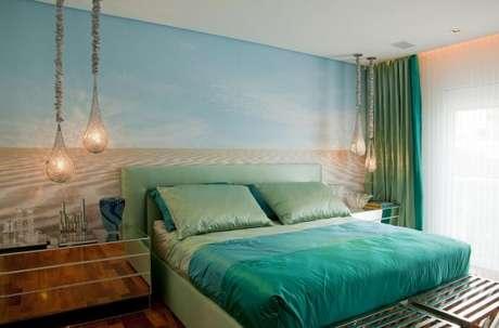 30. O quarto de casal fica ainda mais encantador com os tons de verde água – Por: Brunete Fraccaroli
