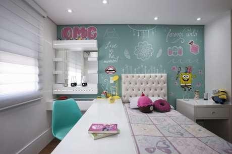 6. O quarto de menina fica lindo com os tons de verde e rosa misturados – Por: Katia Laneli