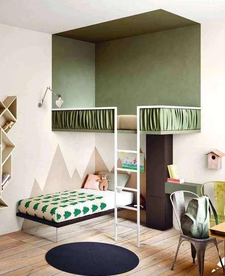41. Que tal decorar o quarto de solteiro com diferentes tons de verde? – Por: VD
