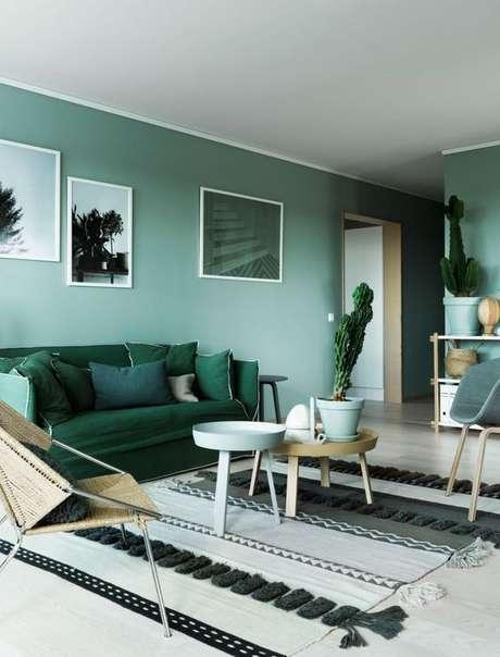 3. Aposte na decoração monocromática para ter uma linda decoração em tons de verde – Por: Pinterest