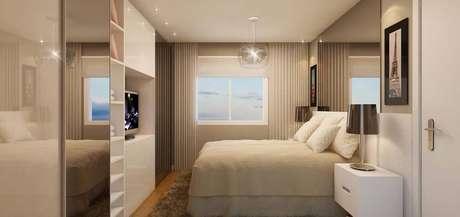 23. Para quarto de casal moderno e com pouco espaço, utilizar imóveis multiuso é sempre a melhor opção. Projeto por: Sandro Thalys
