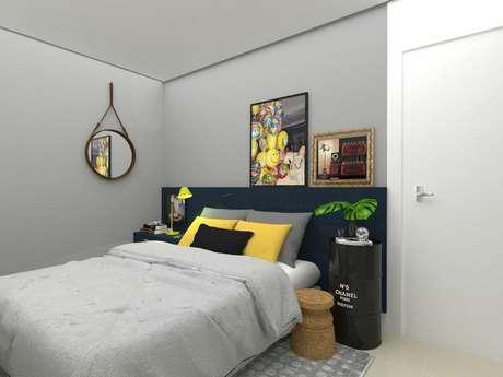 58. O uso de peças industriais tambémé bom para compor um quarto de casal moderno. Projeto por: Ítalo Aguiar