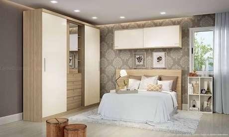 54. A unicidade nos tons de cores são típicos de um quarto de casal moderno. Projeto por: Lojas KD