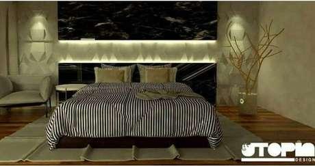 52. Uma iluminação confortável é muito importante para trazer comodidade ao quarto de casal moderno. Projeto por: Nathália Gonçalves