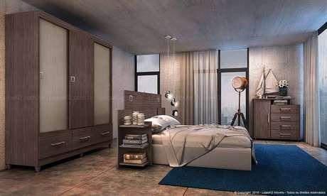 49. O uso de cores mais vivas em um quarto de casal moderno pode estar em peças removíveis, como tapetes. Projeto por: Lojas KD