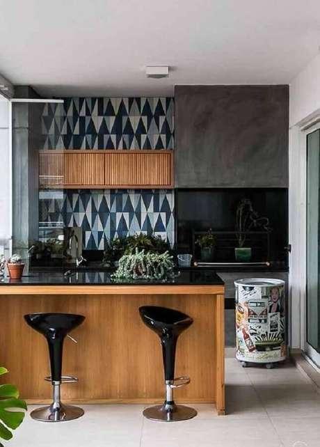 51. Tonel decorativo colorido para decoração de cozinha americana – Foto: Wood Save